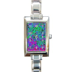Green Purple Pink Background Rectangle Italian Charm Watch