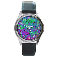 Green Purple Pink Background Round Metal Watch