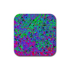 Green Purple Pink Background Rubber Square Coaster (4 pack)