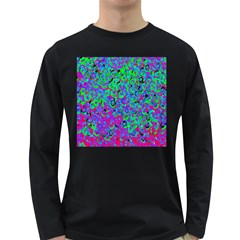 Green Purple Pink Background Long Sleeve Dark T-Shirts