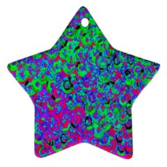 Green Purple Pink Background Star Ornament (two Sides)