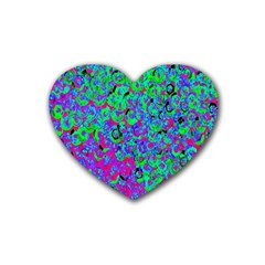 Green Purple Pink Background Rubber Coaster (Heart)