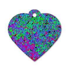 Green Purple Pink Background Dog Tag Heart (one Side)