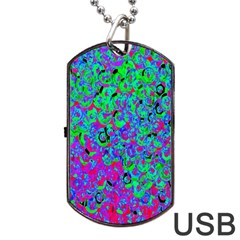 Green Purple Pink Background Dog Tag USB Flash (Two Sides)