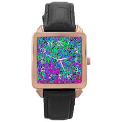 Green Purple Pink Background Rose Gold Leather Watch