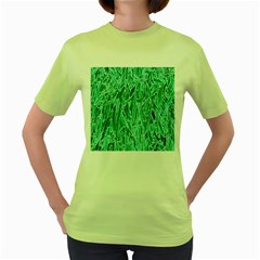 Green Background Pattern Women s Green T Shirt