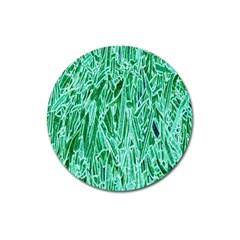 Green Background Pattern Magnet 3  (round)