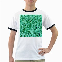 Green Background Pattern Ringer T-Shirts