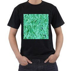 Green Background Pattern Men s T-Shirt (Black) (Two Sided)