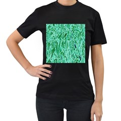 Green Background Pattern Women s T-Shirt (Black) (Two Sided)