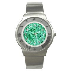 Green Background Pattern Stainless Steel Watch