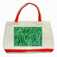 Green Background Pattern Classic Tote Bag (Red)