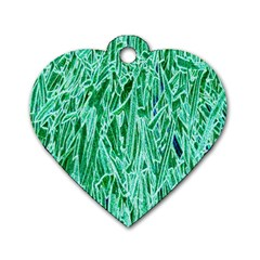Green Background Pattern Dog Tag Heart (One Side)
