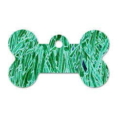 Green Background Pattern Dog Tag Bone (two Sides)