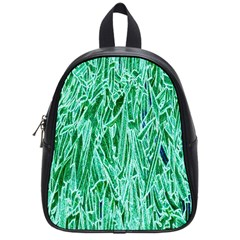 Green Background Pattern School Bags (Small)