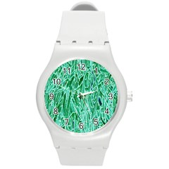 Green Background Pattern Round Plastic Sport Watch (M)