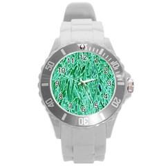 Green Background Pattern Round Plastic Sport Watch (L)