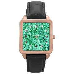 Green Background Pattern Rose Gold Leather Watch
