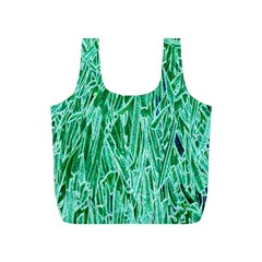 Green Background Pattern Full Print Recycle Bags (S)