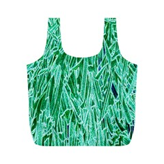 Green Background Pattern Full Print Recycle Bags (M)
