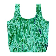 Green Background Pattern Full Print Recycle Bags (L)