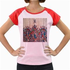 Blue Brown Cloth Design Women s Cap Sleeve T-Shirt