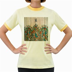 Blue Brown Cloth Design Women s Fitted Ringer T-Shirts