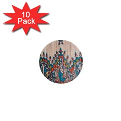 Blue Brown Cloth Design 1  Mini Buttons (10 pack)