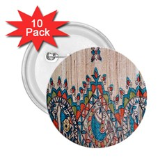 Blue Brown Cloth Design 2.25  Buttons (10 pack)