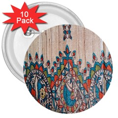 Blue Brown Cloth Design 3  Buttons (10 pack)