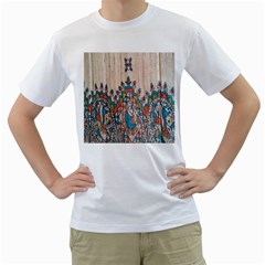 Blue Brown Cloth Design Men s T Shirt (white) (two Sided)