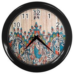 Blue Brown Cloth Design Wall Clocks (black)