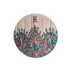 Blue Brown Cloth Design Rubber Coaster (Round)