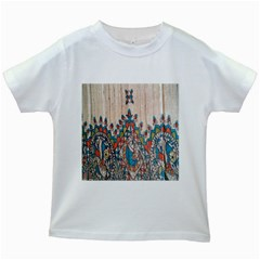 Blue Brown Cloth Design Kids White T-Shirts