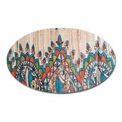 Blue Brown Cloth Design Oval Magnet