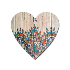 Blue Brown Cloth Design Heart Magnet