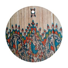 Blue Brown Cloth Design Round Ornament (Two Sides)