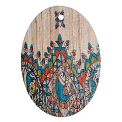 Blue Brown Cloth Design Oval Ornament (two Sides)