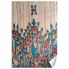Blue Brown Cloth Design Canvas 12  X 18