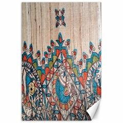 Blue Brown Cloth Design Canvas 24  x 36