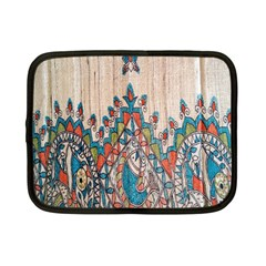 Blue Brown Cloth Design Netbook Case (small)