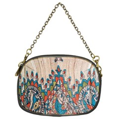 Blue Brown Cloth Design Chain Purses (two Sides)