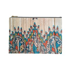 Blue Brown Cloth Design Cosmetic Bag (large)
