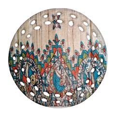 Blue Brown Cloth Design Ornament (Round Filigree)