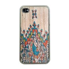 Blue Brown Cloth Design Apple iPhone 4 Case (Clear)