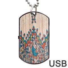 Blue Brown Cloth Design Dog Tag USB Flash (One Side)