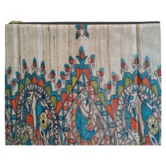 Blue Brown Cloth Design Cosmetic Bag (XXXL)