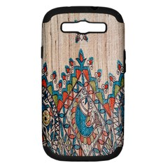 Blue Brown Cloth Design Samsung Galaxy S III Hardshell Case (PC+Silicone)
