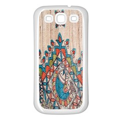 Blue Brown Cloth Design Samsung Galaxy S3 Back Case (White)