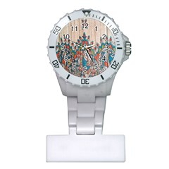 Blue Brown Cloth Design Plastic Nurses Watch